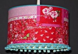 kinderlamp rood patchwork en blauw stipje en bolletjes
