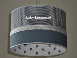 kinderlamp grijs mini ruitje effen grijs en wit grijze sterren