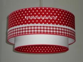 Kinderlamp dubbele lampenkap rode stipjes en rode ruitjes