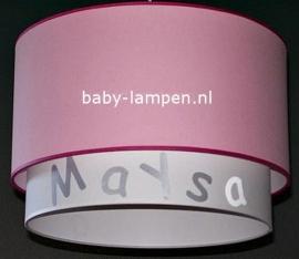 Kinderlamp dubbele lampenkap Maysa effen roze en wit