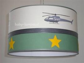 kinderlamp stoer helicopter olijf groen gele vilt sterren