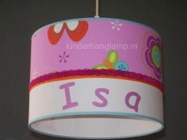 kinderlamp met naam roze bloemen en oranje