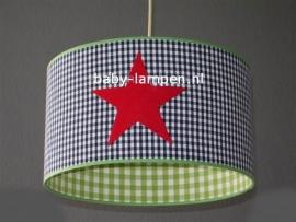 kinderlamp 3x vilten rode ster en lime donkerblauw ruitjes