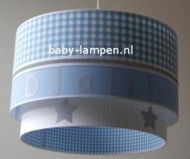 Kinderlamp dubbele lampenkap lichtblauw zilver en wit met naam