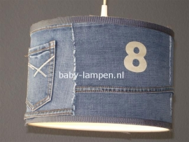 kinderlamp stoer spijkerstof met zilveren letters