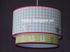 Kinderlamp dubbele lampenkap Guus lichtblauw lime groen
