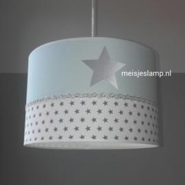 kinderlamp mint drie keer zilver sterren