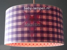 Kinderlamp paarse ruit en ster met naam