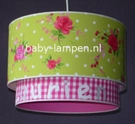 Kinderlamp dubbele lampenkap Maurie fuchsia en lime groen met rozen
