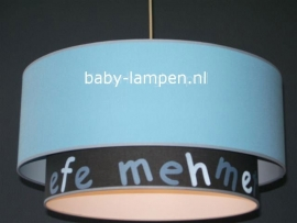 Kinderlamp dubbele lampenkap effen blauw effen antraciet met naam