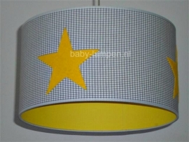 kinderlamp grijs mini ruitje drie vilt gele sterren