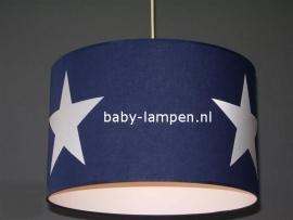 kinderlamp donkerblauw drie grote witte sterren
