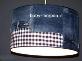 kinderlamp stoer spijkerstof en donkerblauw ruitje
