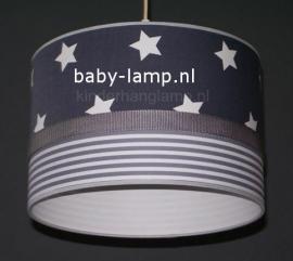 kinderlamp antraciet witte sterren grijs wit streepje