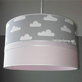 kinderlamp grijs wolkjes roze streepjes