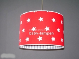 kinderlamp rood witte sterren en grijze ruitjes