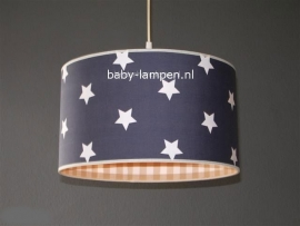 kinderlamp antraciet witte sterren beige ruitjes