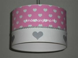 kinderlamp roze witte hartjes en zilveren hartjes