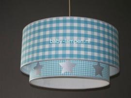 Kinderlamp aqua ruitje en aqua mini ruitje zilveren sterren