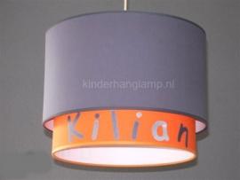 Kinderlamp dubbele lampenkap Kilian oranje en grijs