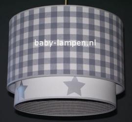 Kinderlamp dubbele lampenkap grijze ruit effen wit met zilveren sterren
