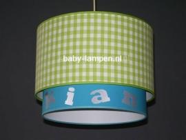 Kinderlamp dubbele lampenkap limegroen ruitje effen aquablauw met naam
