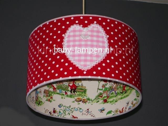 kinderlamp kabouter rood stipje en roze hartje