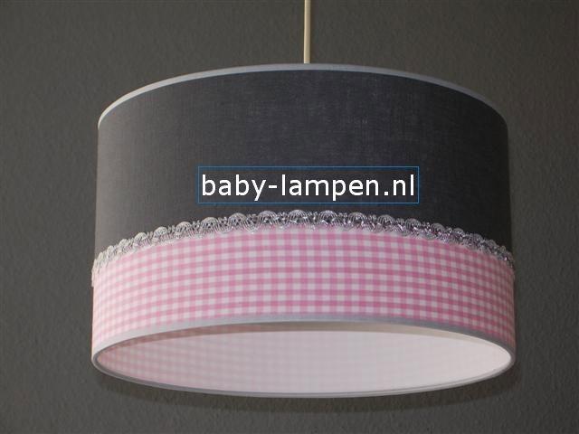 kinderlamp effen antraciet roze ruitje zilver bandje