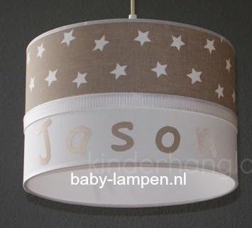 kinderlamp met naam beige witte sterren en wit