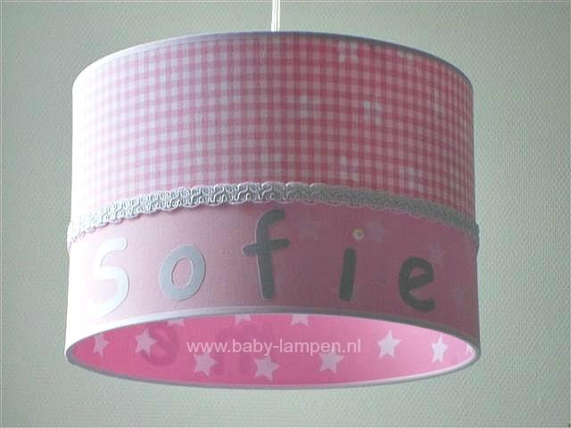 Kinderlamp Sofie roze ruitje en roze sterretjes