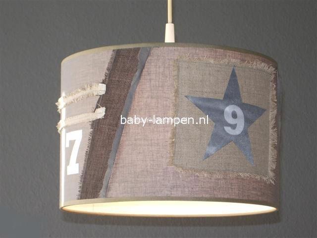 Kinderlamp stoer beige zilver ster en cijfers
