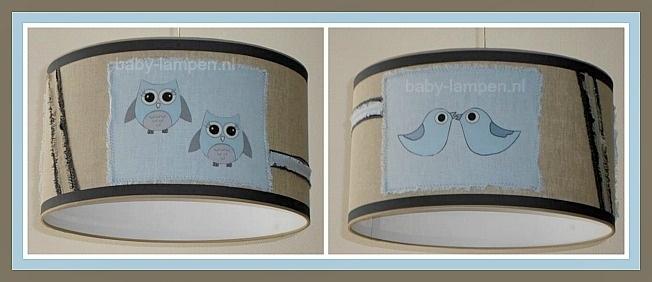 kinderlamp stoer beige lichtblauw met vogeltje en uiltjes