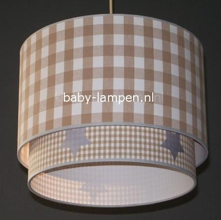 Kinderlamp dubbelekap beige ruit en beige mini ruit zilveren sterren