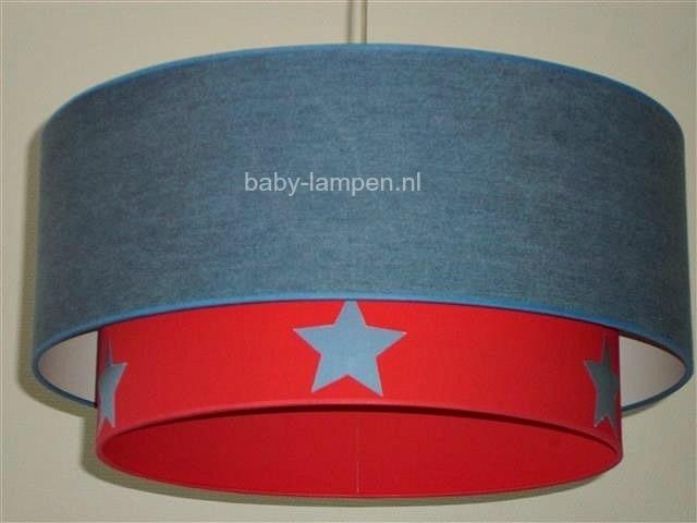 Kinderlamp dubbele lampenkap spijkerstof rood blauwe sterren