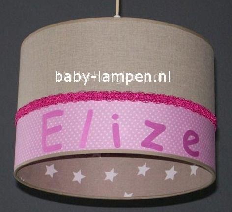 Kinderlamp met naam beige roze en beige witte sterren