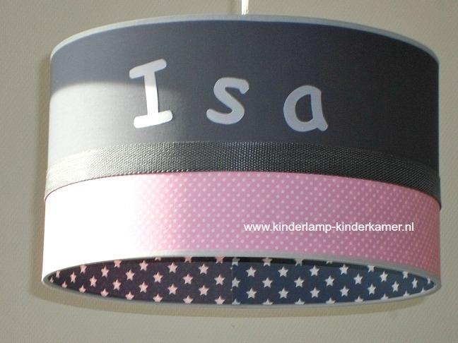 Kinderlamp Isa antraciet sterretjes en roze stipjes