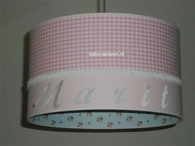 Kinderlamp met naam roze lichtblauw en parel