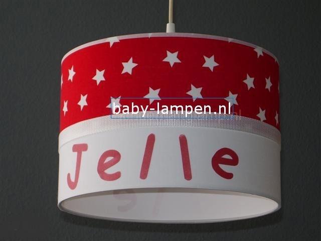 kinderlamp met naam rood witte sterretjes en wit