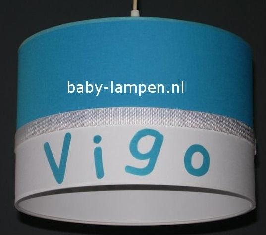 kinderlamp met naam effen aquablauw en wit