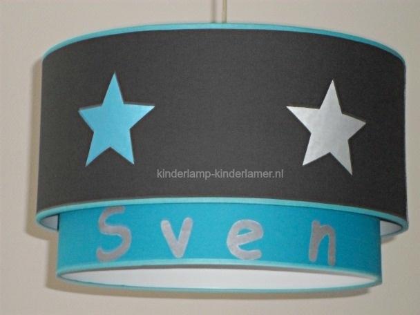 kinderlamp dubbele kap antraciet aqua blauw met sterren en naam
