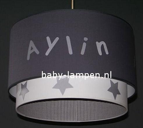 Kinderlamp dubbele lampenkap Aylin in antraciet en grijs