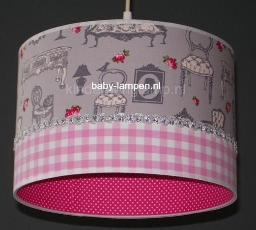 kinderlamp barok grijs en roze ruitje fuchsia stipjes