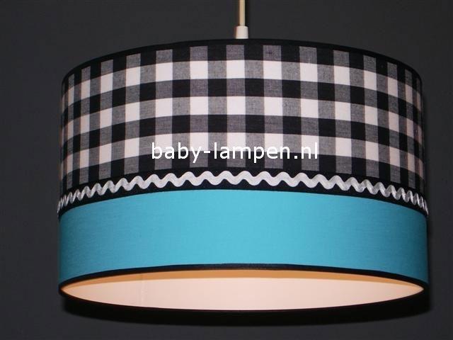 kinderlamp zwart ruit aqua blauw