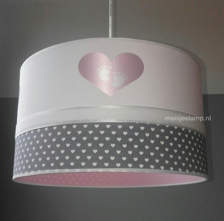 kinderlamp hartjes voetjes roze antraciet