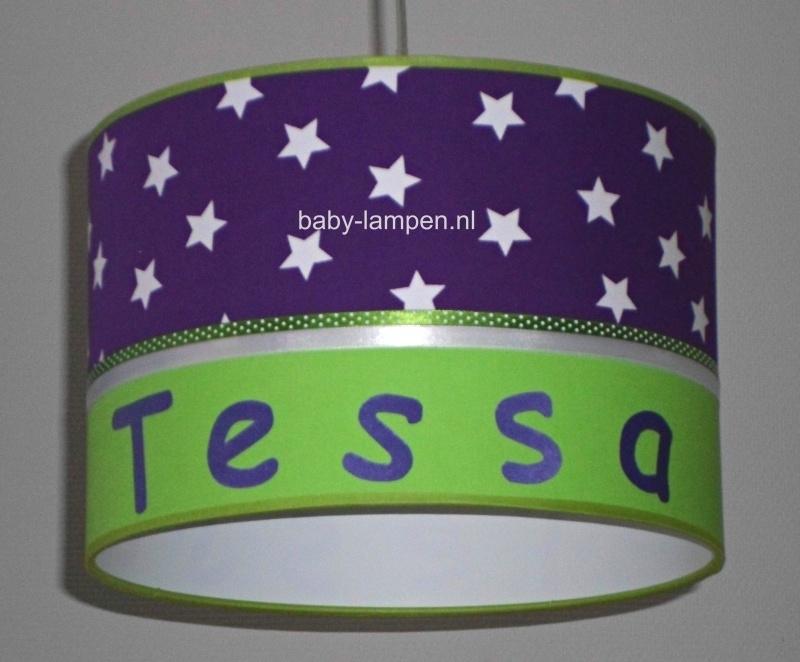 Kinderlamp met naam paars en fel groen