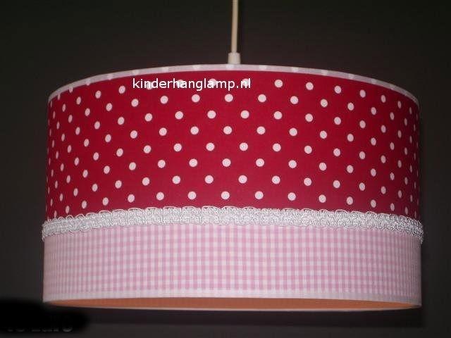 kinderlamp rode stipjes en roze ruitje
