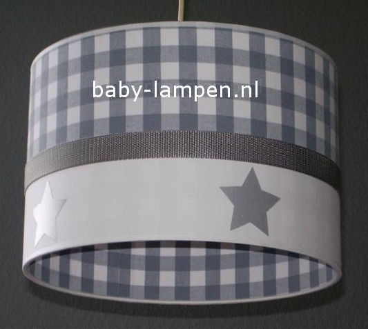 kinderlamp grijze ruit en zilveren sterren