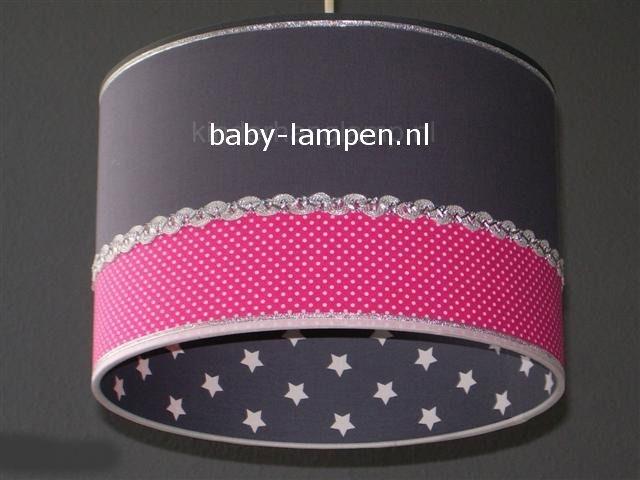 kinderlamp effen antraciet sterren en fuchsia stipje