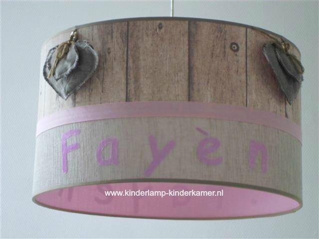 Kinderlamp Fayen steigerhout roze en harten