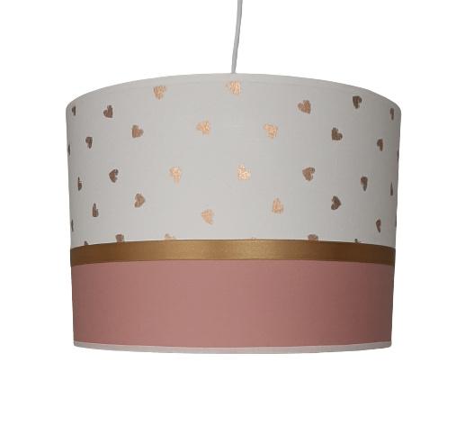 Lamp kinderkamer oud roze gouden hartjes